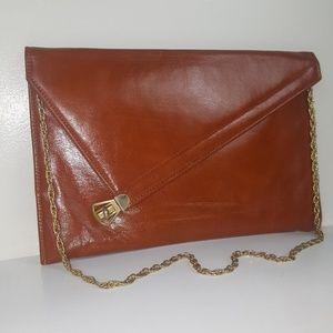 Mardane Vintage Brown Leather Clutch Gold Chain